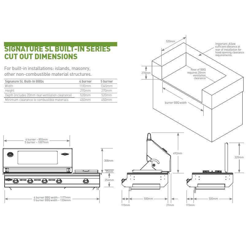 Superior Weber Home Designs #1: Signature SL Built In Cut Out Dimensions
